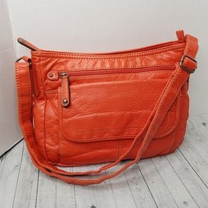 St John's Bay Orange Shoulder Bag Purse EUC